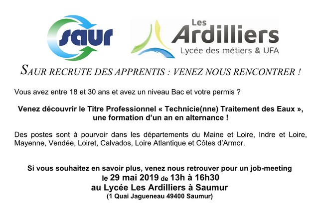 SAUR recrute des apprentis : job meeting le 29 mai