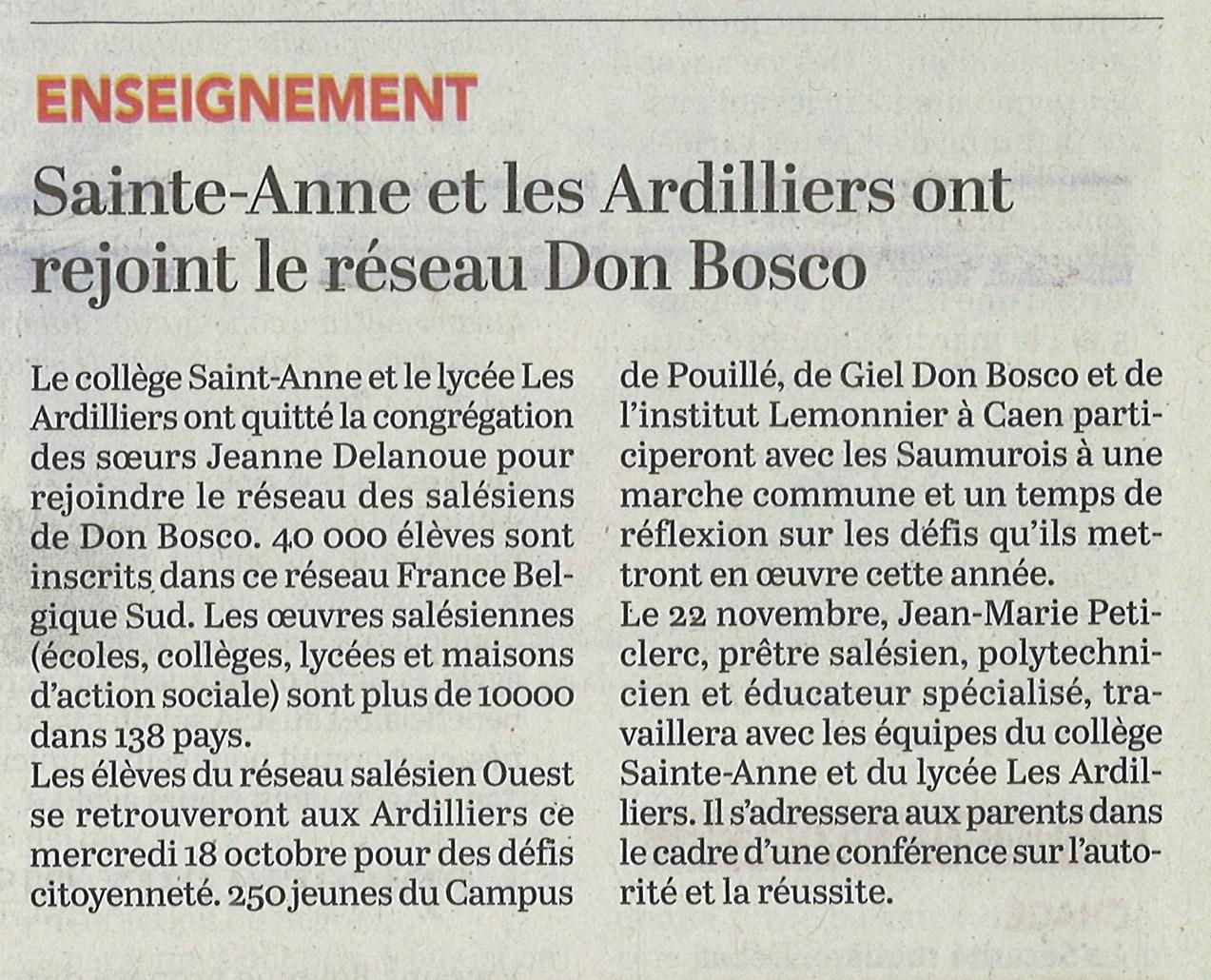Les Ardilliers ont rejoint le réseau Don Bosco